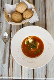 Ukrainian or Russian borscht soup with bread royalty free stock photo