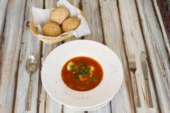 Ukrainian or Russian borscht soup stock photo