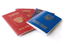 Ukrainian and Russian ID passports Stock Photo