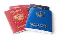 Ukrainian and Russian ID passports Royalty Free Stock Photos