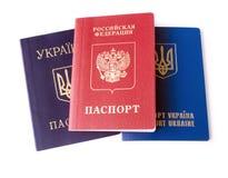 Ukrainian and Russian ID passports Stock Image