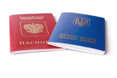 Ukrainian and Russian ID passports Royalty Free Stock Images