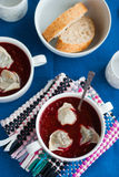 Ukrainian and russian national beetroot borsch with dumplings cl Royalty Free Stock Photography