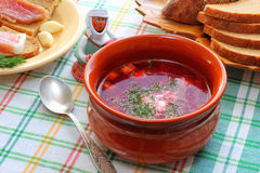 Ukrainian and Russian national cuisine Borsch Royalty Free Stock Image