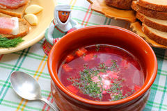 Ukrainian and Russian national cuisine Borsch Stock Photos