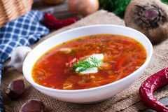 Ukrainian and russian national food - red beet soup, borscht. Ukrainian and russian national food - red beet soup stock photo