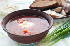 Ukrainian and russian national red borsch Royalty Free Stock Image