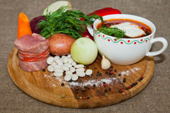 Ukrainian and Russian national red borsch Royalty Free Stock Photography