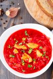 Ukrainian and russian national red borsch Royalty Free Stock Photo