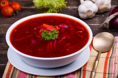 Ukrainian and russian national red borsch Stock Photo