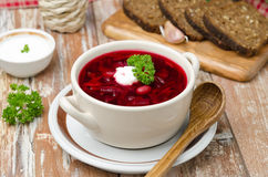 Ukrainian and russian national red borsch with sour cream horizo Royalty Free Stock Photography