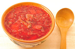 Ukrainian and russian national red borsch. Royalty Free Stock Photos