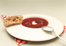 Ukrainian and Russian national Red Borscht Royalty Free Stock Photo