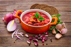Ukrainian and Russian national Red Borscht on Royalty Free Stock Image