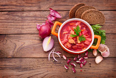 Ukrainian and Russian national Red Borscht on Royalty Free Stock Photos