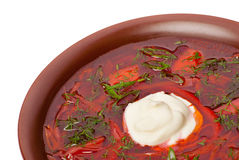 Ukrainian and russian national red soup Royalty Free Stock Photos