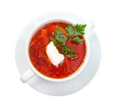 Ukrainian and russian national red soup-borsch. Royalty Free Stock Image