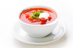 Ukrainian and russian national red soup-borsch Stock Photography