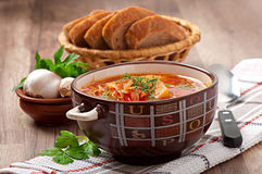 Ukrainian and russian national red soup borsch Stock Images