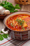 Ukrainian and russian national red soup borsch Royalty Free Stock Image