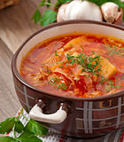 Ukrainian and russian national red soup borsch Stock Photos