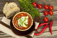 Ukrainian and russian national red soup borscht Royalty Free Stock Photography