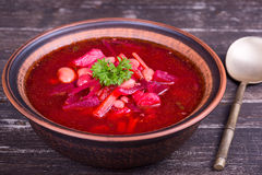 Ukrainian and russian national vegetable soup - red borsch Stock Images