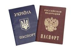 Ukrainian and Russian passport Stock Photo