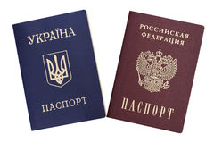 Ukrainian and Russian passports. On a white background Stock Photography