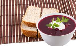 Ukrainian and russian red-beet soup Royalty Free Stock Image