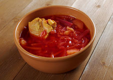 Red-beet soup (borscht) Royalty Free Stock Photos