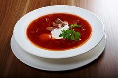 Ukrainian and russian red-beet soup (borscht) Royalty Free Stock Photos
