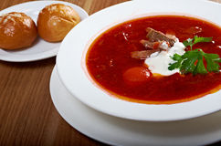 Ukrainian and russian red-beet soup (borscht) Stock Photo
