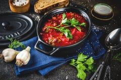 Ukrainian Russian soup borsch. Ukrainian Russian traditional hot dish - borsch soup, with greens, garlic, rye bread, on a dark table stock photo