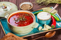 Ukrainian and Russian traditional beetroot soup - borscht in clay pot with sour cream, spice, garlic, pepper, dried herbs and brea. D on dark wooden background royalty free stock photo