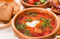 Borsch with beetroot, cabbage and tomato Stock Photo