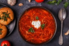Ukrainian and russian traditional red soup - borsch. Ukrainian and russian traditional red soup - borsch, top view stock photo