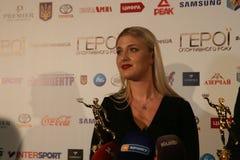 Olha Kharlan at press conference royalty free stock photo