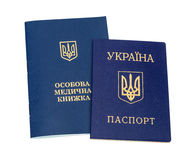 Ukrainian sanitary book and passport Royalty Free Stock Photo