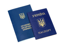 Ukrainian sanitary book and passport Royalty Free Stock Photos