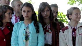 Ukrainian  schoolchildren stock video footage