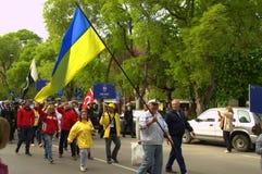 Ukrainian seamen on parade. Ukrainian  sailors on parade,Varna city,Bulgaria during Tall ships Regatta crew parade,May 1st,2014 Stock Photo