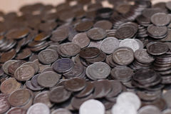 Ukrainian silver coins. Pyramid of money Royalty Free Stock Photography