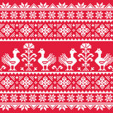 Ukrainian Slavic folk art knitted red emboidery pattern with birds Stock Photos