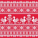 Ukrainian Slavic folk art knitted red emboidery pattern with birds Stock Photos