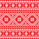 Ukrainian, Slavic folk art knitted red and white embroidery pattern Stock Photo