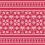 Ukrainian, Slavic folk art white embroidery pattern on red Royalty Free Stock Photo