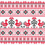 Ukrainian Slavic folk knitted red emboidery pattern with birds Royalty Free Stock Photography