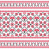 Ukrainian, Slavic folk knitted red emboidery pattern or print Stock Photography