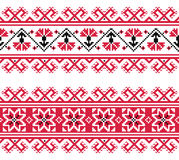 Ukrainian, Slavic red and grey traditional seamless folk embroidery pattern Royalty Free Stock Photos